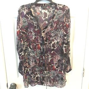 Lucky Brand sheer floral tunic